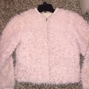 Furry powder pink coat
